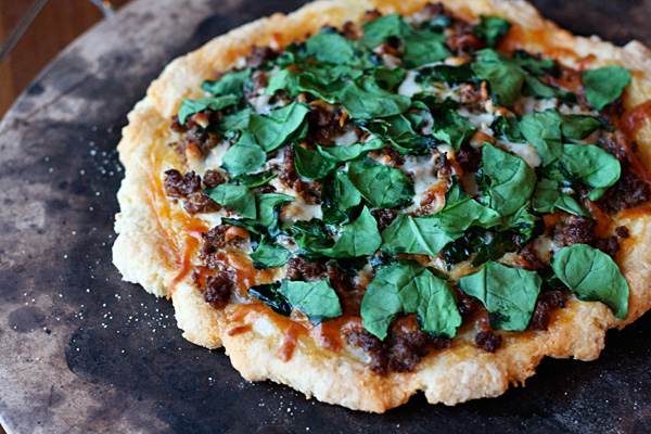 Gluten-Free Wild Boar Chorizo and Spinach Pizza