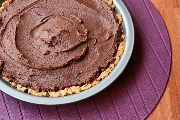 Chocolate Peanut Butter Pie - This chocolate peanut butter pie is dense and rich and tastes just like a Reese's peanut butter cup.
