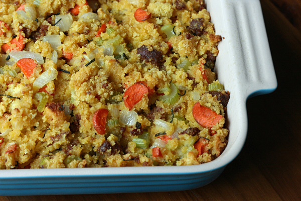 Cornbread stuffing dances with spicy chorizo, vegetables and sage. This stuffing is good enough to eat on its own, which I do often.