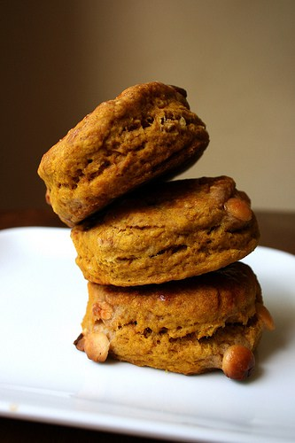 Pumpkin White Chocolate Chip Scones on Stetted