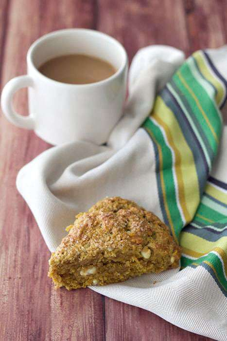 Pumpkin Scones - Pumpkin scones with white chocolate chips are a favorite autumn treat. Get the recipe.
