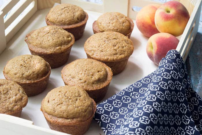 Peaches and Cream muffins are the perfect tender muffins for summer.