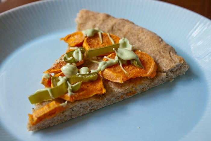 Sweet Potato Pizza with Avocado Crema
