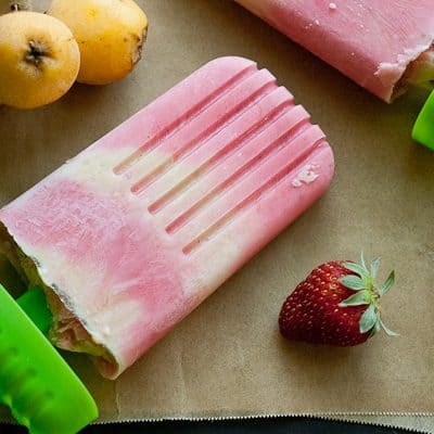Loquat & Strawberry Yogurt Popsicles