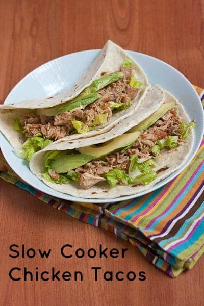 Chicken Tacos - Don't want to turn on the oven? Try these simple slow cooker chicken tacos.