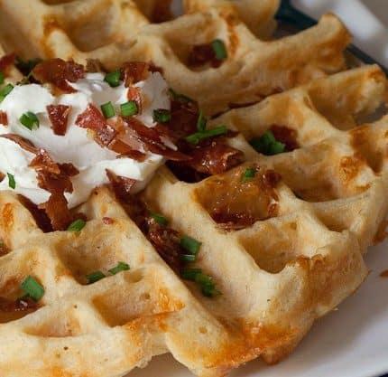 Beer Cheddar Waffles close up