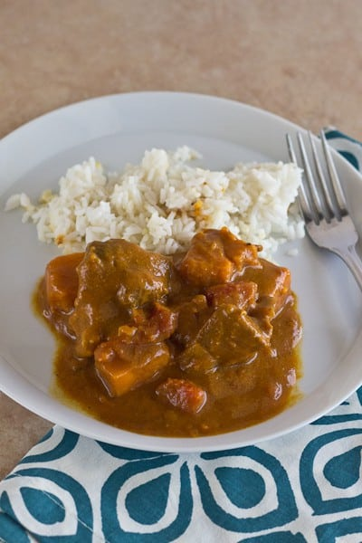Goat Curry with Sweet Potatoes - A recipe for spiced goat curry stew to warm up your cold nights.