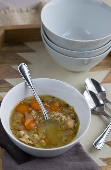 Chicken Soup - We wrap up More Cluck for Your Buck with a use for those saved chicken bones - easy chicken soup with alphabet noodles.