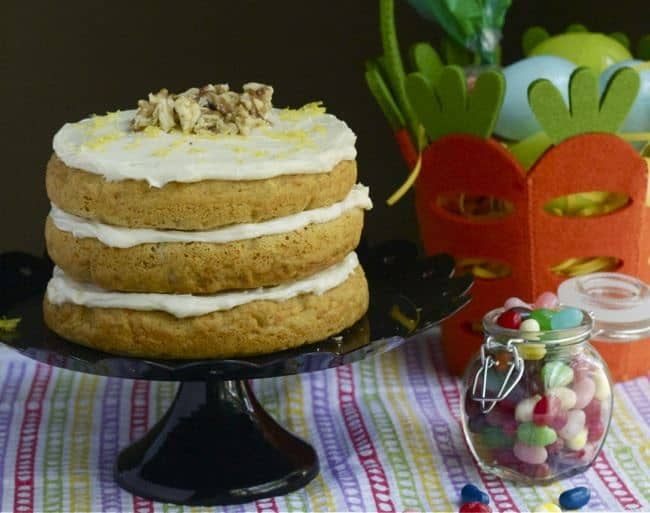 Carrot Cake with Lemon Frosting - Celebrate spring with a not-too-sweet Carrot Cake with Lemon Frosting.