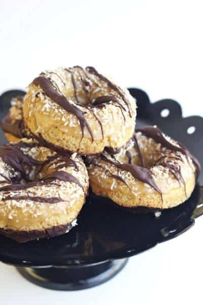 Baked Samoa Donuts - It's Girl Scout cookie season any time with these Baked Samoa Donuts.