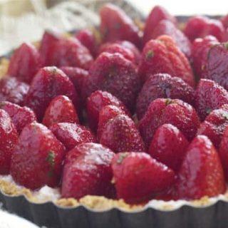 Strawberry Mint Ricotta Tart