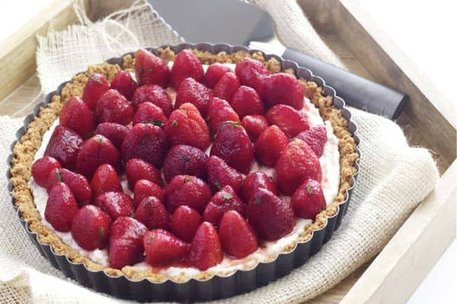 Strawberry Mint Ricotta Tart is a sweet way to celebrate spring.