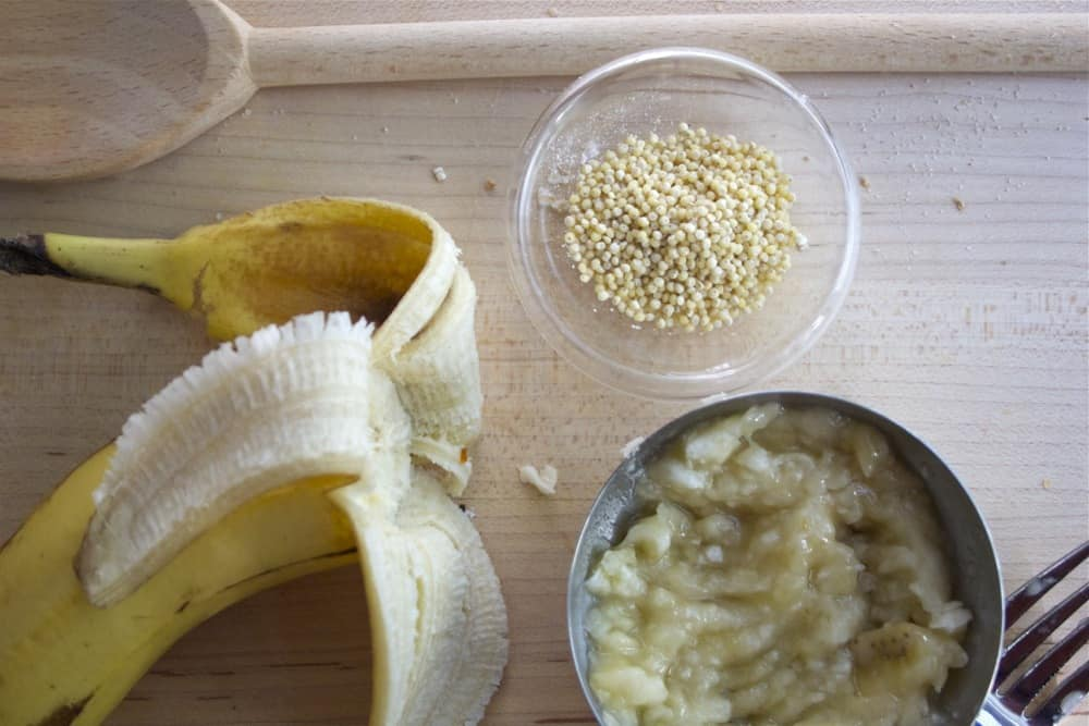 banana, mashed banana, and millet