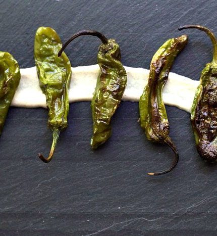 Grilled Shishito Peppers with Tahini Cardamom Sauce
