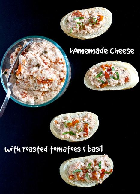Homemade Cheese - Make homemade cheese with this simple method. Adding seasonal tomatoes and basil make it a summer staple.