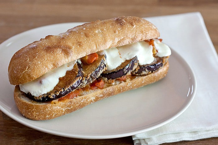 Eggplant Parmesan Subs - Get the flavors of eggplant parmesan in a portable, handheld lunch.