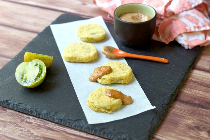 Fried Green Tomatoes with Smoked Tomato Basil Aioli are a homey take on the Southern classic.