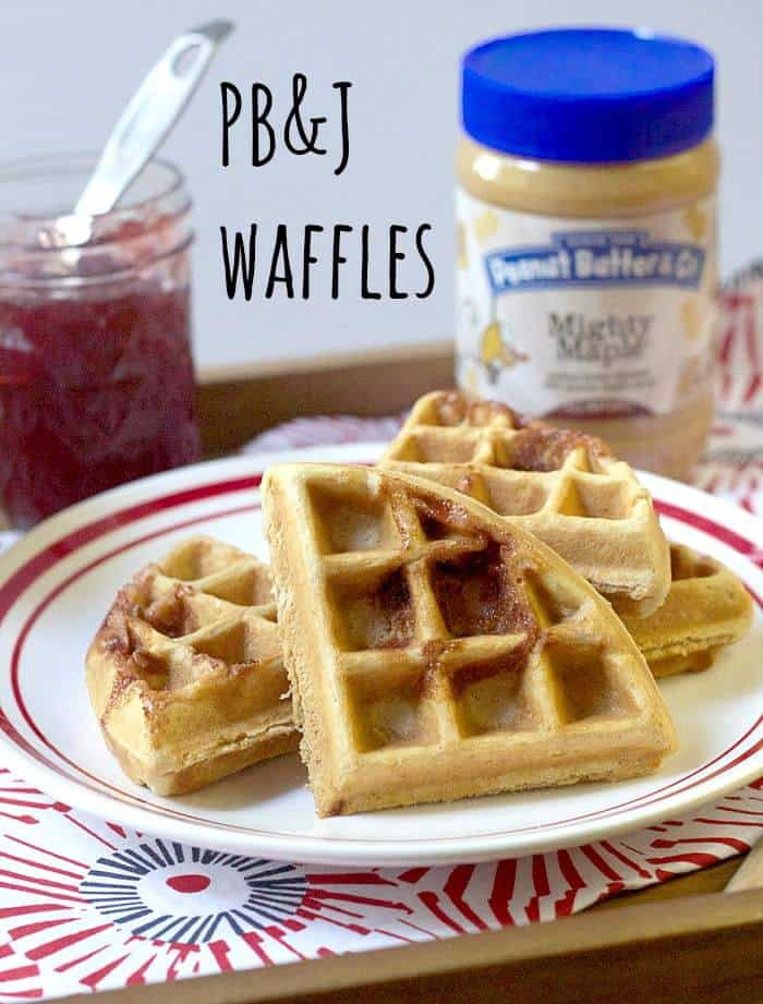 Peanut Butter and Jelly Waffles - Start your day with a smile with these Peanut Butter and Jelly Waffles that harken back to childhood.