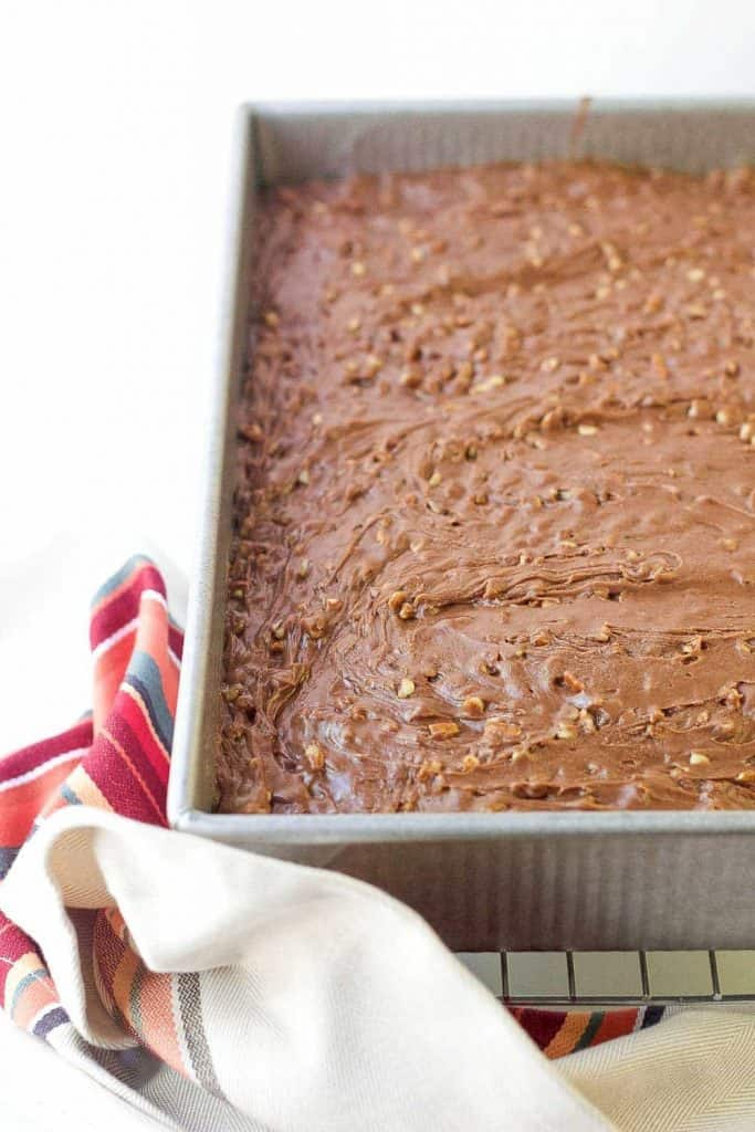 Texas sheet cake is chocolatey, nutty, and delightfully gooey. Everyone loves it!