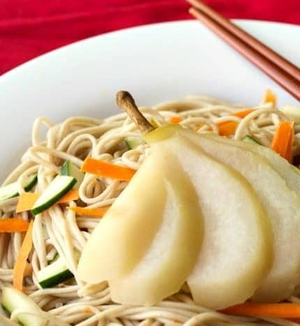 Tea-Poached Pears with Soba Noodles
