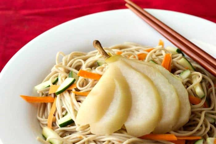 Poached Pears - Tea-Poached Pears with Soba Noodles is a new way to use crisp fall pears.