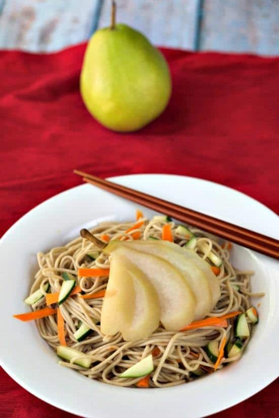 Poached Pears  - Tea-Poached Pears with Soba Noodles is a simple, savory way to use crisp fall pears.