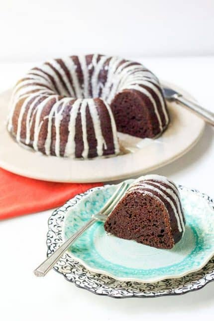 Chocolate pumpkin bundt cake is a crowd-pleasing dessert with a hint of fall flavor. Your guests might not even realize it has pumpkin!