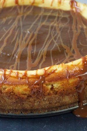 Bourbon Cajeta Apple Butter Goat Cheese Cheesecake