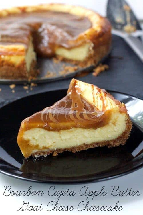 Goat Cheese Cheesecake  - What's better than goat cheese cheesecake? Goat cheese cheesecake smothered in apple butter and cajeta!
