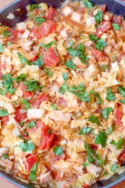 Turkey chilaquiles are a quick weeknight option. Make it as spicy as you like!