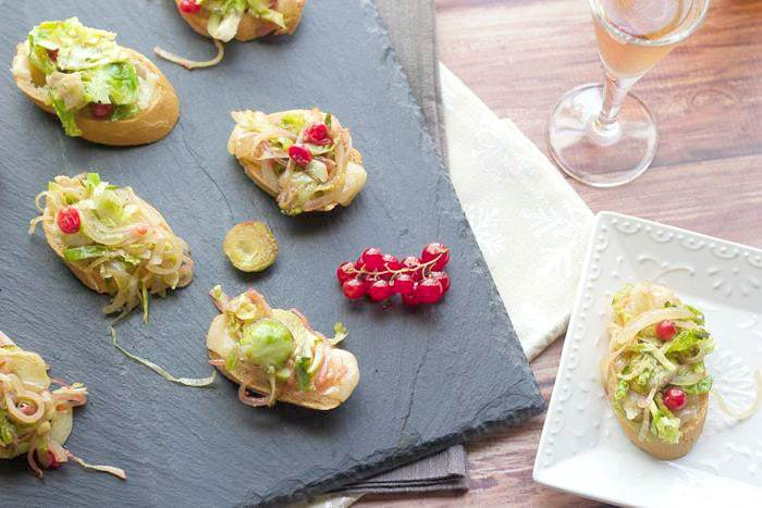 Brussels Sprouts Crostini is a great appetizer for Christmas or New Year's Eve.