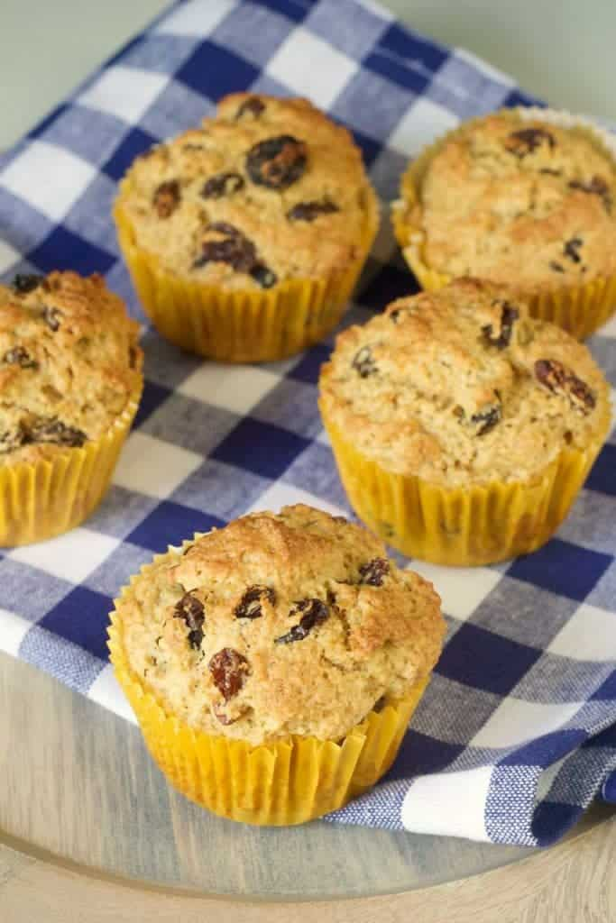 Rum raisin muffins are full of plump raisins with a hit of booze.