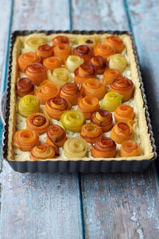 Carrot Rose Tart is a beautiful way to present the familiar vegetable for brunch or dinner.