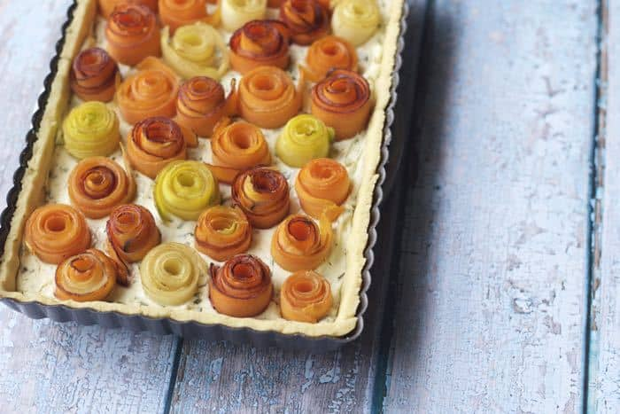 Carrot Rose Tart - This beautiful carrot rose tart is an elegant way to present vegetables at brunch or dinner.
