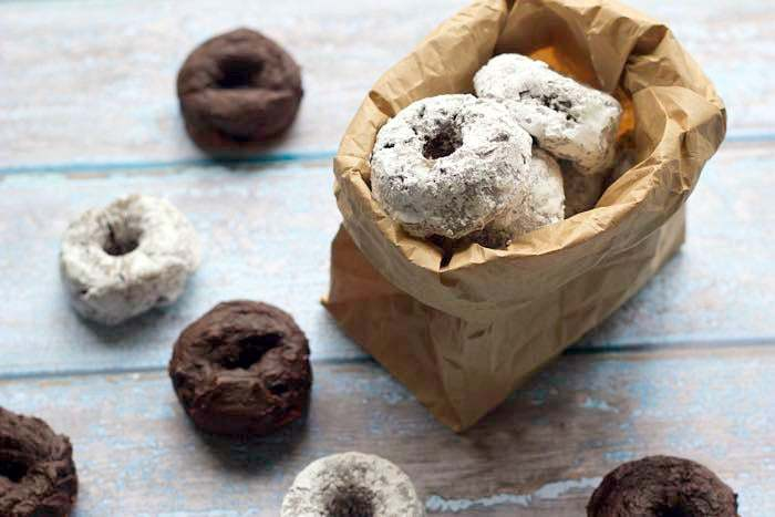 Chocolate avocado mini donuts are full of chocolate and healthy fats.