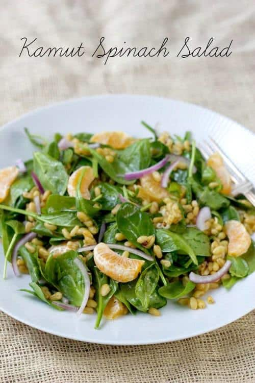 Kamut Spinach Salad is refreshing and full of whole grains.