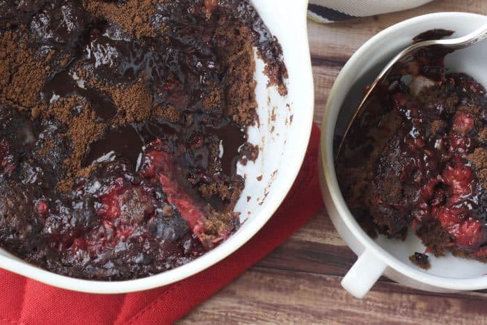 Raspberry Fudge Pudding Cake is an ideal dessert for a cozy Valentine's Day.