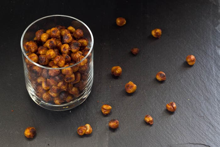Roasted Chickpeas - BBQ roasted chickpeas are a spicy, addictive snack — just like your favorite potato chips, but healthier!