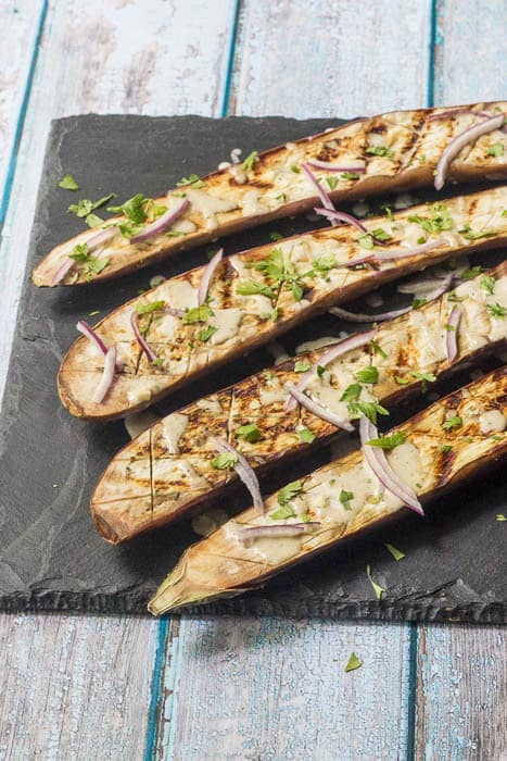 Grilled Eggplant with Tahini Sauce is a meatless option that brings Mediterranean flavors to the table without fuss.