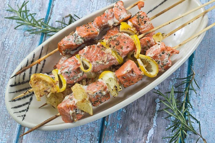 Salmon Kebabs are incredibly easy and flavored with lemon and fresh rosemary.