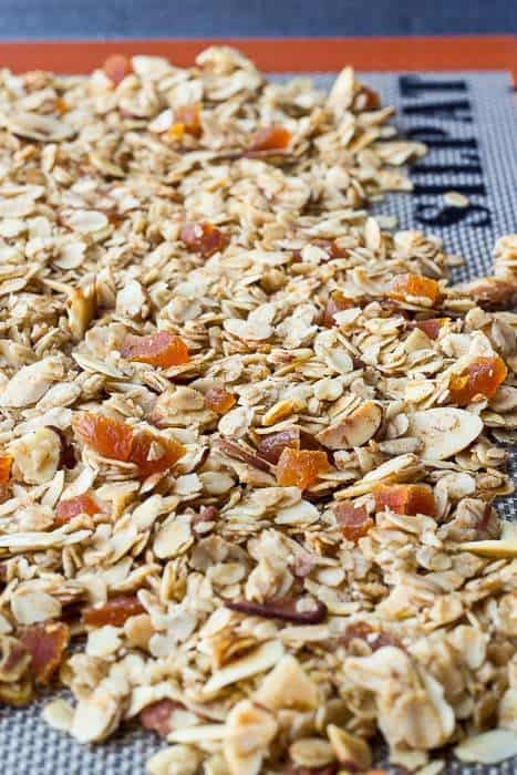 Apricot granola is flavored with chai spices for a crunchy, fragrant breakfast.