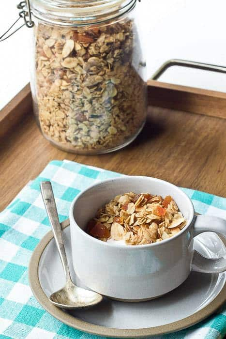 Apricot Granola is simple and relies on natural flavors and spices rather than refined sugars.
