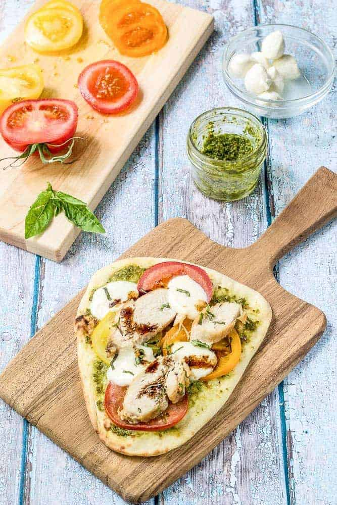 Caprese chicken flatbread comes together quickly for an easy, no-fuss meal full of summer's flavor.