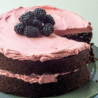 Chocolate Beet Cake with Blackberry Buttercream