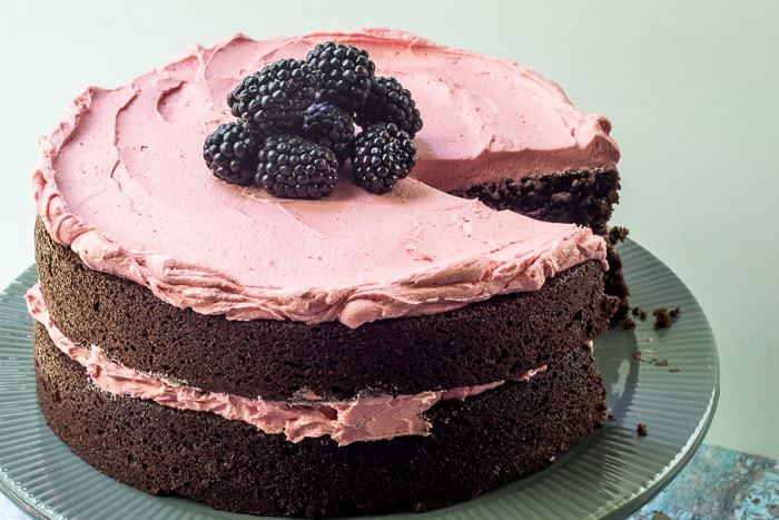 Chocolate Beet Cake with Blackberry Buttercream