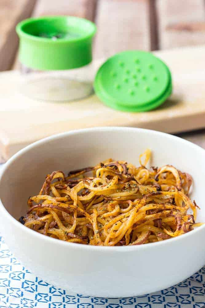 Spicy Spiralized Potatoes are a fun new way to eat potatoes.