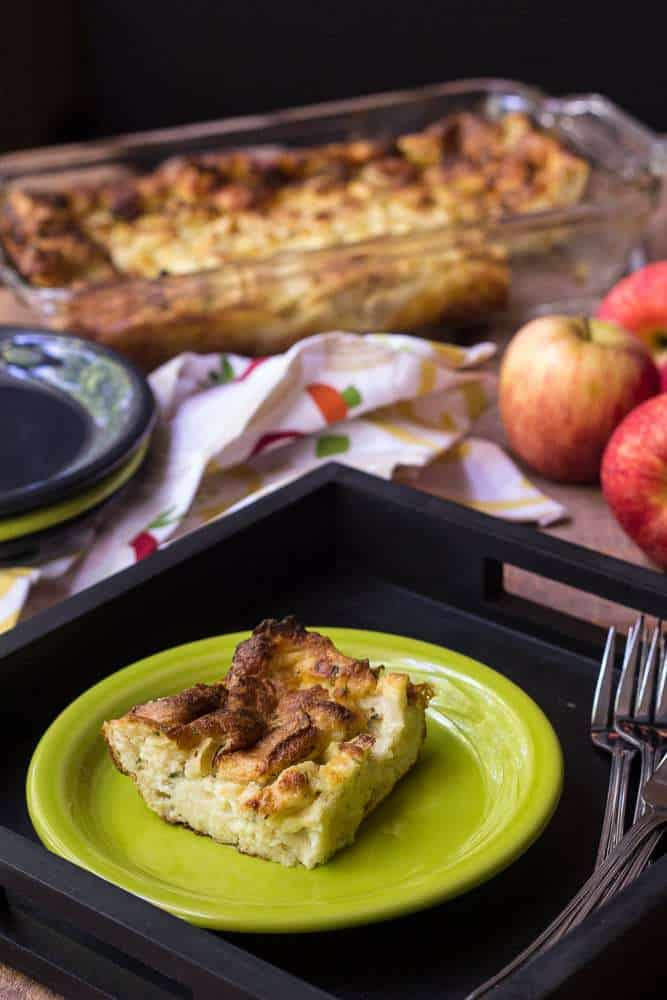Apple cheddar bread pudding is a great dish for brunch or entertaining.