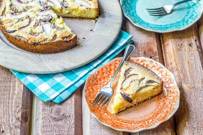 Fig and nectarine cake uses the end of summer fruits for a lovely tea cake.