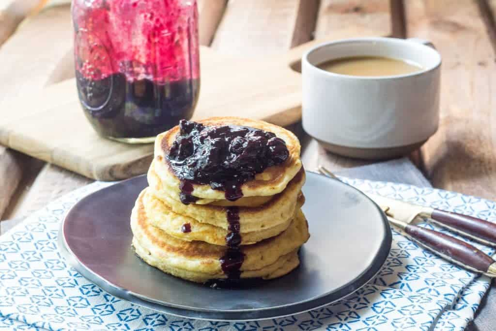 Hoe Cakes with Blueberry Jalapeno Sauce - Southern-style hoe cakes with blueberry jalapeño sauce give your breakfast a little oomph!