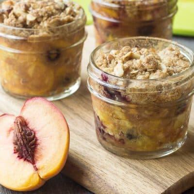 Gluten Free Mini Peach Crisps with Blueberries